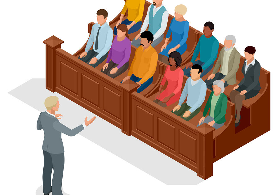 lawyer and jury in court