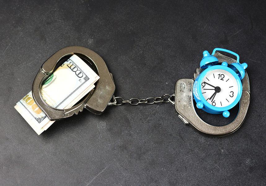handcuffs money clock